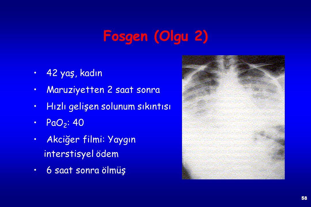 Fosgen (Olgu 1) Maruziyetten 7 saat sonra Orta derece solunum sıkıntısı Fizik muayene: Hafif ral PaO 2 : 64 Akciğer filmi: Hafif interstisyel ödem Sek