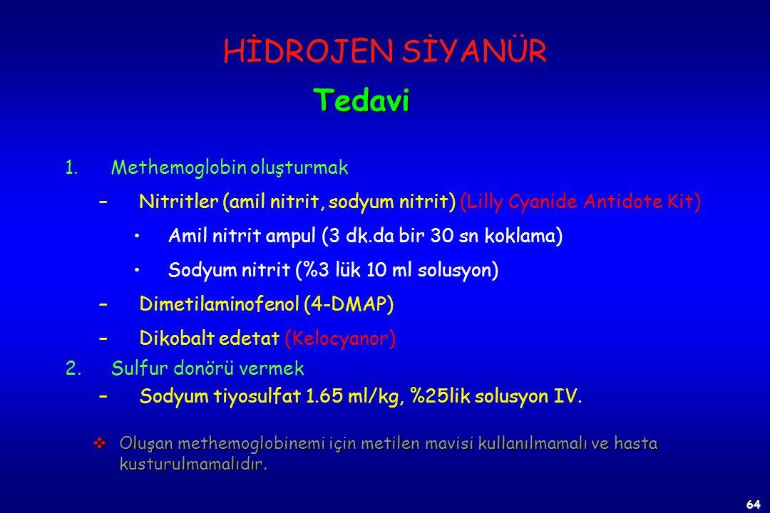 63 1)Derhal %100 oksijen verilir. 2)Antidotal tedavi uygulanır. Sağ kalan, fakat bilinçsiz, apneli ve konvülziyon halindeki hastaya 10 dakika içinde y