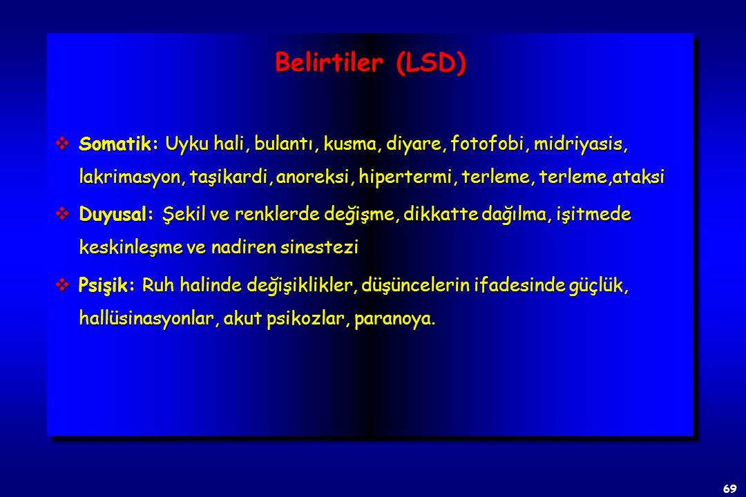 68 D-Liserjik asit dietilamid (LSD) vErgoalkoloidlerinden izole edilen beyaz katı bir madde olup, kristalize serbest baz şekli suda çözünmez vBir sero