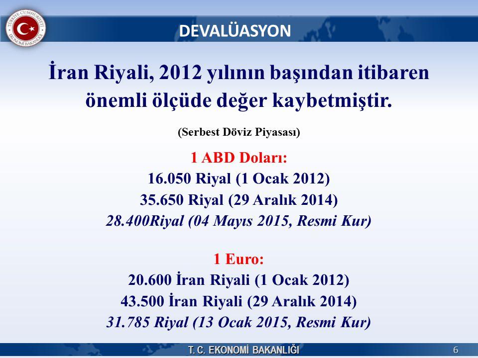 T. C. EKONOMİ BAKANLIĞI 6 DEVALÜASYON T. C. EKONOMİ BAKANLIĞI İran Riyali, 2012 yılının başından itibaren önemli ölçüde değer kaybetmiştir. (Serbest D