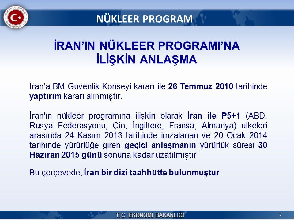 T. C. EKONOMİ BAKANLIĞI 7 NÜKLEER PROGRAM İRAN'IN NÜKLEER PROGRAMI'NA İLİŞKİN ANLAŞMA İran'a BM Güvenlik Konseyi kararı ile 26 Temmuz 2010 tarihinde y