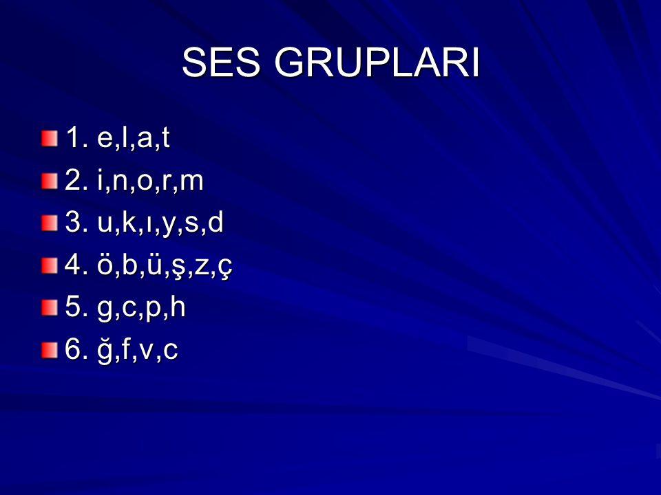 SES GRUPLARI 1. e,l,a,t 2. i,n,o,r,m 3. u,k,ı,y,s,d 4. ö,b,ü,ş,z,ç 5. g,c,p,h 6. ğ,f,v,c