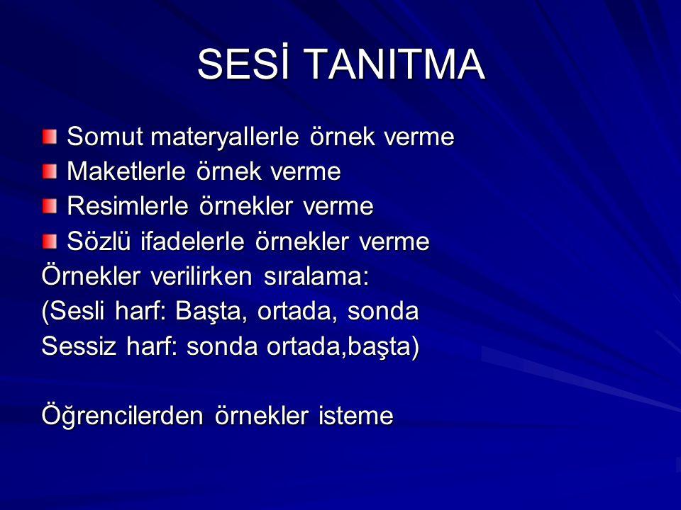SESİ TANITMA Somut materyallerle örnek verme Maketlerle örnek verme Resimlerle örnekler verme Sözlü ifadelerle örnekler verme Örnekler verilirken sıra