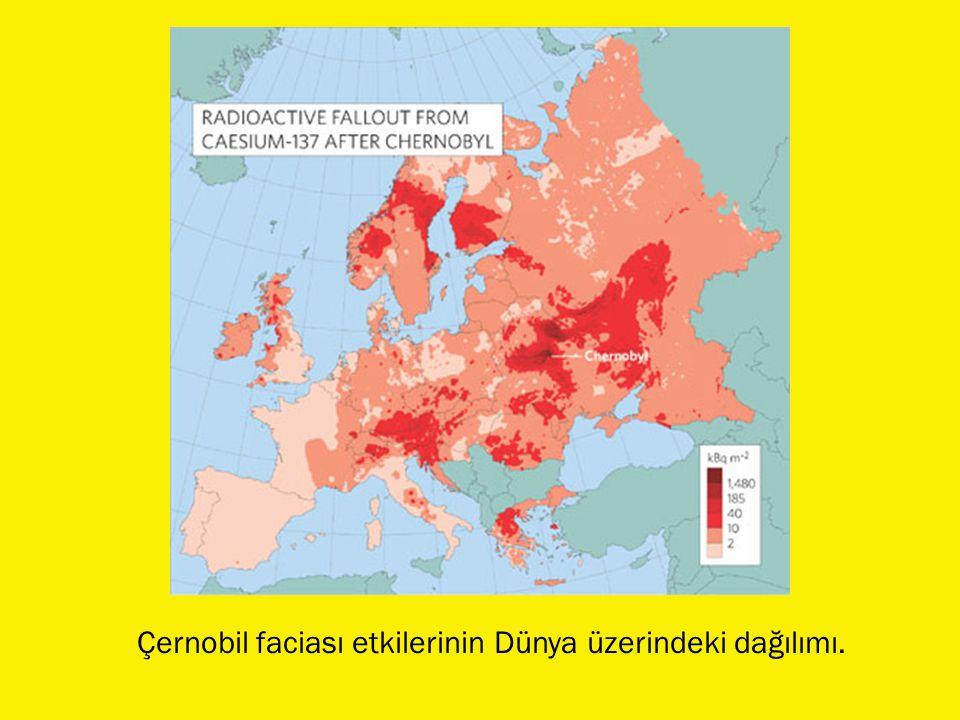Çernobil faciası etkilerinin Dünya üzerindeki dağılımı.