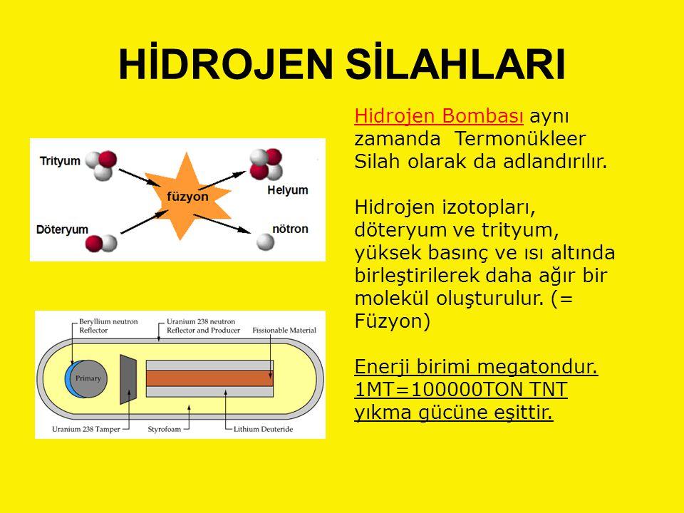 HİDROJEN SİLAHLARI Hidrojen Bombası aynı zamanda Termonükleer Silah olarak da adlandırılır. Hidrojen izotopları, döteryum ve trityum, yüksek basınç ve