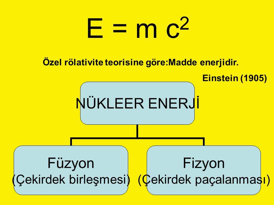 NÜKLEER ENERJİ Füzyon (Çekirdek birleşmesi) Fizyon (Çekirdek paçalanması) E = m c 2 Özel rölativite teorisine göre:Madde enerjidir. Einstein (1905)