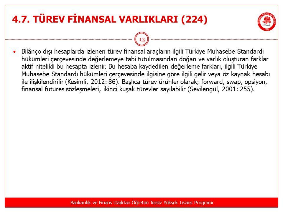 4.7. TÜREV FİNANSAL VARLIKLARI (224) Bankacılık ve Finans Uzaktan Öğretim Tezsiz Yüksek Lisans Programı 13 Bilânço dışı hesaplarda izlenen türev finan