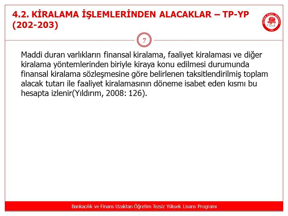 4.2. KİRALAMA İŞLEMLERİNDEN ALACAKLAR – TP-YP (202-203) Bankacılık ve Finans Uzaktan Öğretim Tezsiz Yüksek Lisans Programı 7 Maddi duran varlıkların f