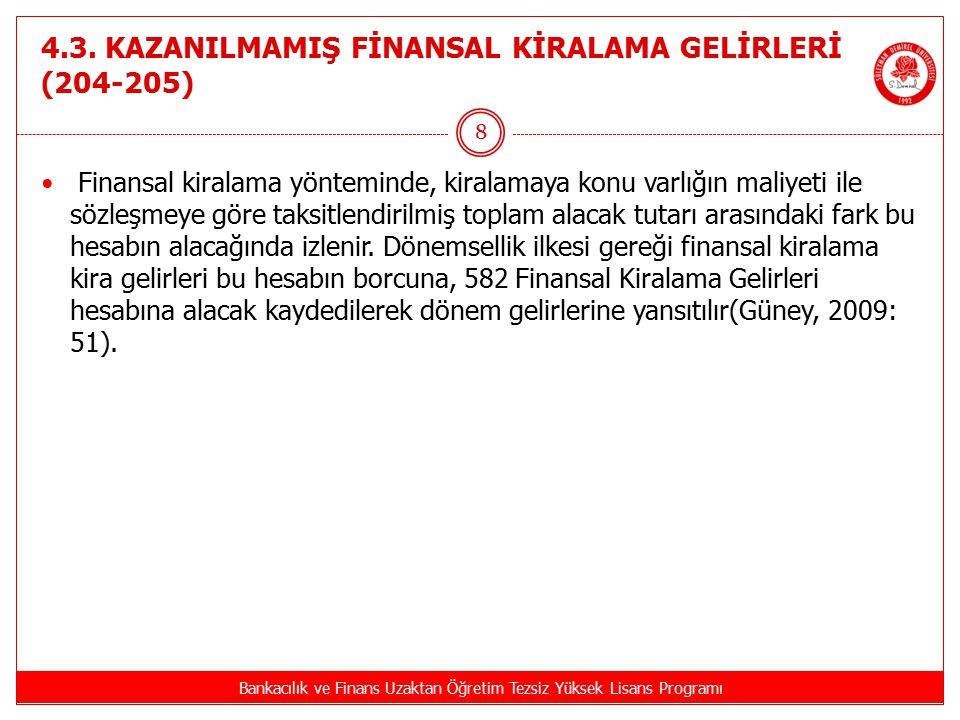 4.3. KAZANILMAMIŞ FİNANSAL KİRALAMA GELİRLERİ (204-205) Bankacılık ve Finans Uzaktan Öğretim Tezsiz Yüksek Lisans Programı 8 Finansal kiralama yöntemi