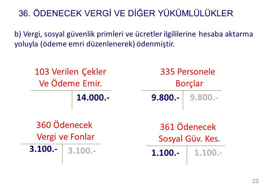 23 103 Verilen Çekler Ve Ödeme Emir. 14.000.- b) Vergi, sosyal güvenlik primleri ve ücretler ilgililerine hesaba aktarma yoluyla (ödeme emri düzenlene