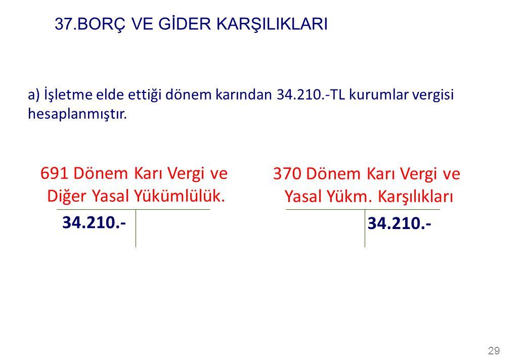 29 a) İşletme elde ettiği dönem karından 34.210.-TL kurumlar vergisi hesaplanmıştır. 691 Dönem Karı Vergi ve Diğer Yasal Yükümlülük. 370 Dönem Karı Ve