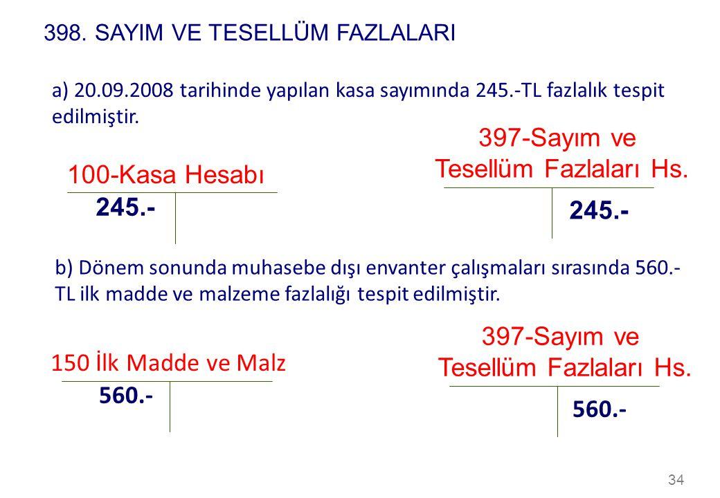 34 100-Kasa Hesabı 245.- a) 20.09.2008 tarihinde yapılan kasa sayımında 245.-TL fazlalık tespit edilmiştir. 397-Sayım ve Tesellüm Fazlaları Hs. 245.-