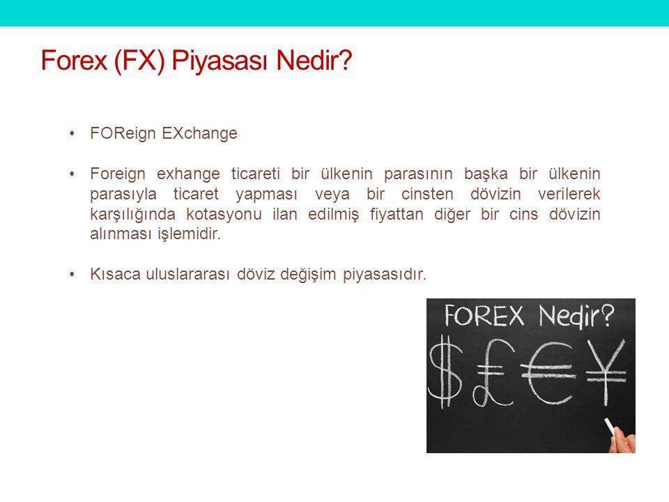 FOReign EXchange Foreign exhange ticareti bir ülkenin parasının başka bir ülkenin parasıyla ticaret yapması veya bir cinsten dövizin verilerek karşılığında kotasyonu ilan edilmiş fiyattan diğer bir cins dövizin alınması işlemidir.