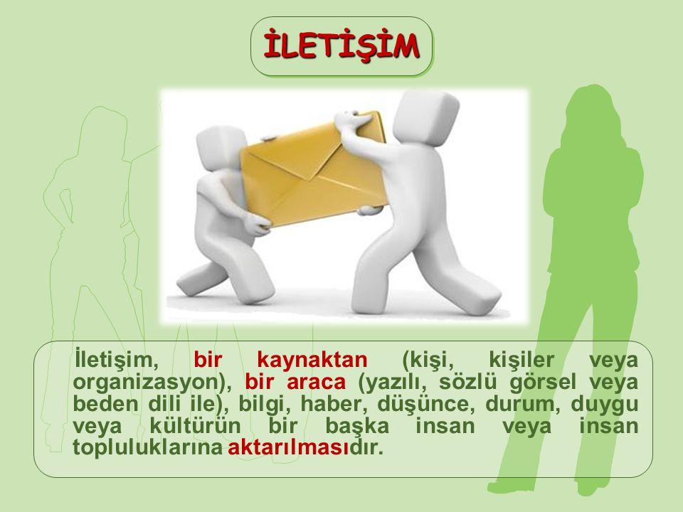 İletişim, bir kaynaktan (kişi, kişiler veya organizasyon), bir araca (yazılı, sözlü görsel veya beden dili ile), bilgi, haber, düşünce, durum, duygu v