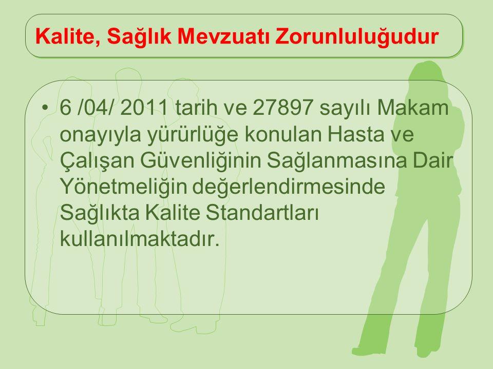 Kalite, Sağlık Mevzuatı Zorunluluğudur 6 /04/ 2011 tarih ve 27897 sayılı Makam onayıyla yürürlüğe konulan Hasta ve Çalışan Güvenliğinin Sağlanmasına D