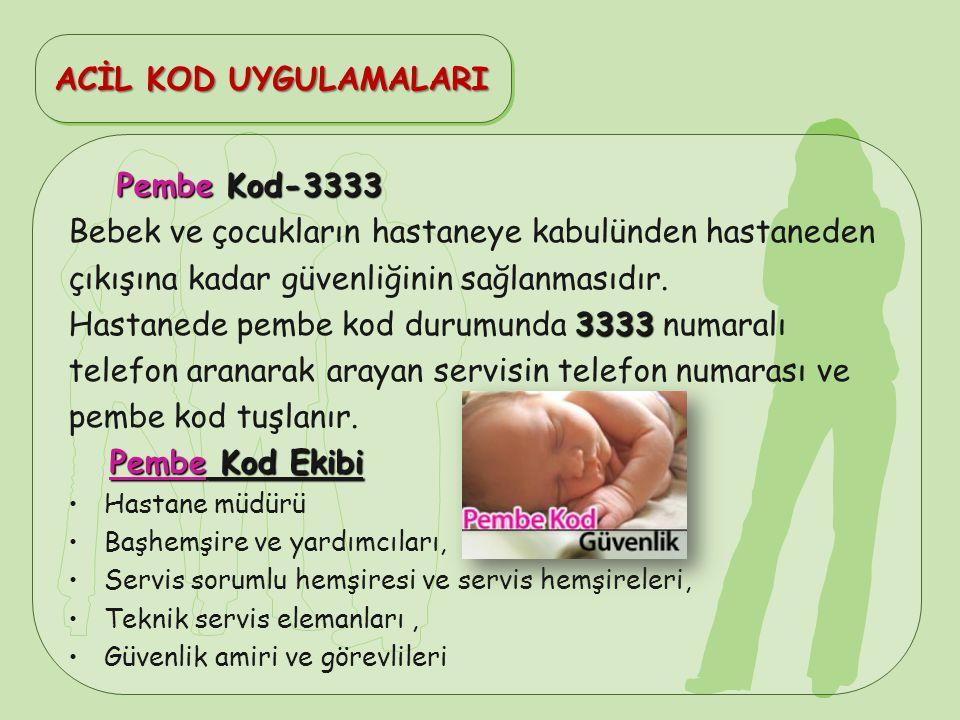 Pembe Kod-3333 Bebek ve çocukların hastaneye kabulünden hastaneden çıkışına kadar güvenliğinin sağlanmasıdır. 3333 Hastanede pembe kod durumunda 3333
