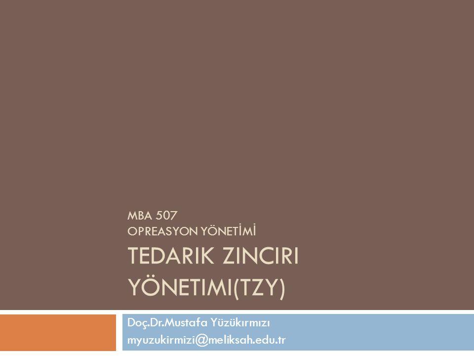 MBA 507 OPREASYON YÖNET İ M İ TEDARIK ZINCIRI YÖNETIMI(TZY) Doç.Dr.Mustafa Yüzükırmızı myuzukirmizi@meliksah.edu.tr