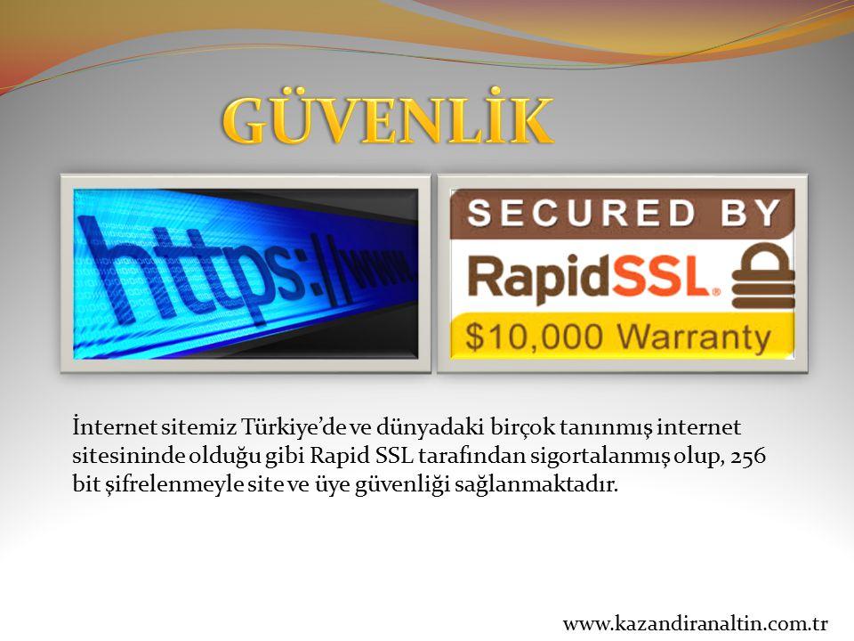 İnternet sitemiz Türkiye'de ve dünyadaki birçok tanınmış internet sitesininde olduğu gibi Rapid SSL tarafından sigortalanmış olup, 256 bit şifrelenmey