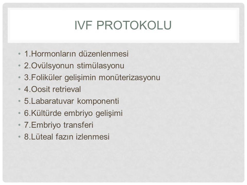 IVF PROTOKOLU 1.Hormonların düzenlenmesi 2.Ovülsyonun stimülasyonu 3.Foliküler gelişimin monüterizasyonu 4.Oosit retrieval 5.Labaratuvar komponenti 6.