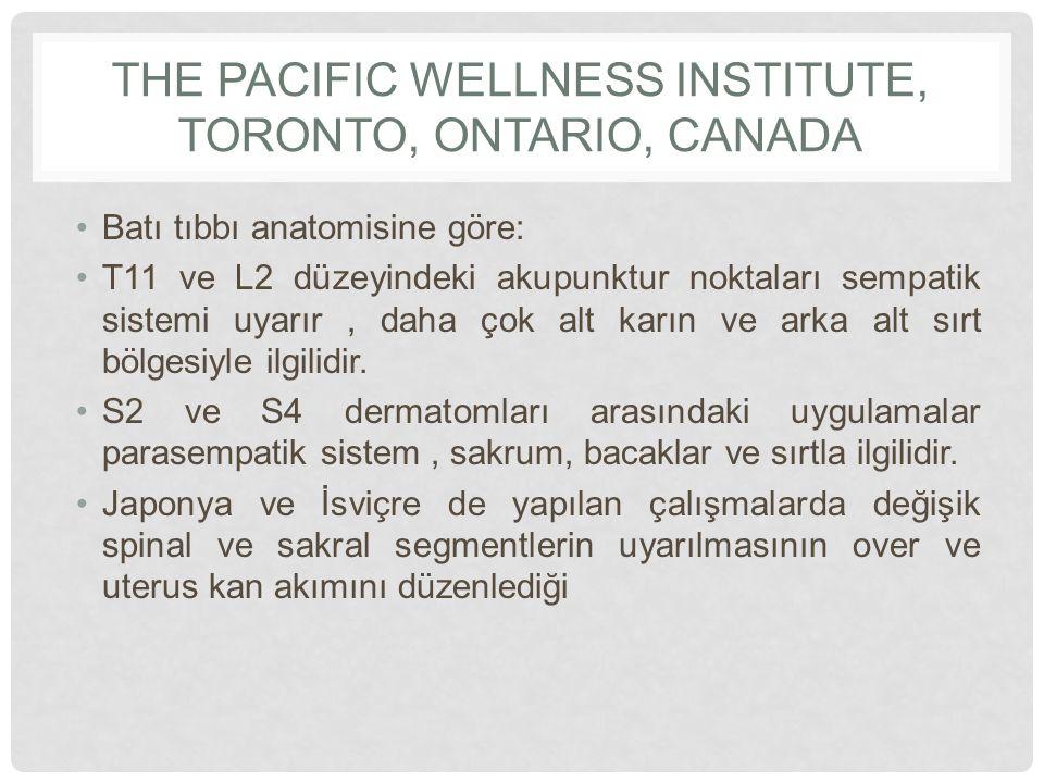 THE PACIFIC WELLNESS INSTITUTE, TORONTO, ONTARIO, CANADA Batı tıbbı anatomisine göre: T11 ve L2 düzeyindeki akupunktur noktaları sempatik sistemi uyar