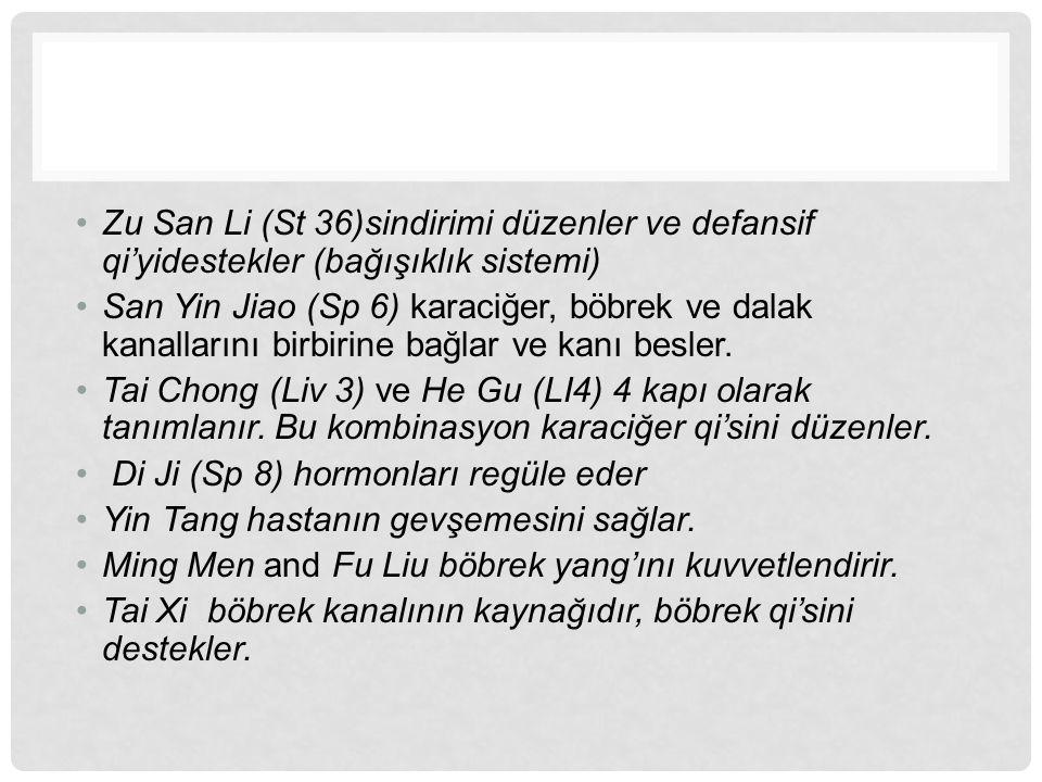 Zu San Li (St 36)sindirimi düzenler ve defansif qi'yidestekler (bağışıklık sistemi) San Yin Jiao (Sp 6) karaciğer, böbrek ve dalak kanallarını birbiri