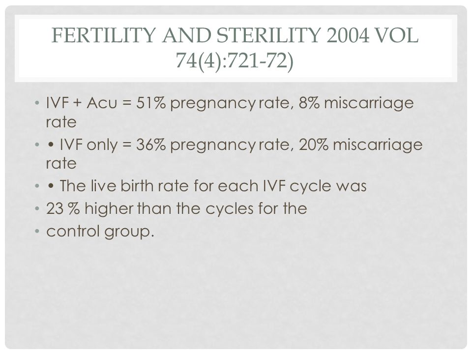 FERTILITY AND STERILITY 2004 VOL 74(4):721-72) IVF + Acu = 51% pregnancy rate, 8% miscarriage rate IVF only = 36% pregnancy rate, 20% miscarriage rate The live birth rate for each IVF cycle was 23 % higher than the cycles for the control group.