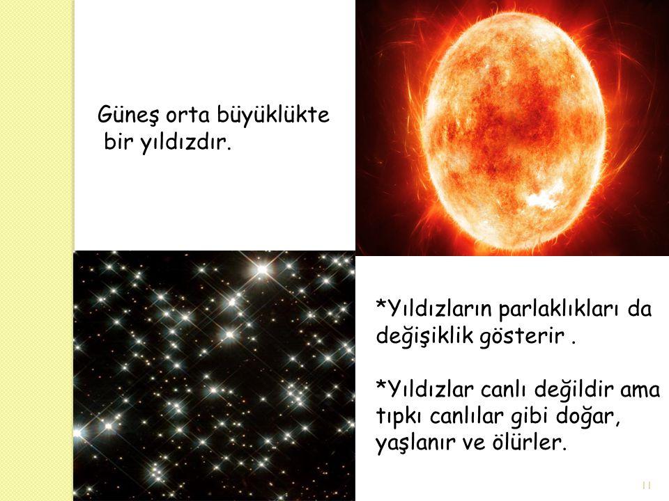 Güneş orta büyüklükte bir yıldızdır. *Yıldızların parlaklıkları da değişiklik gösterir. *Yıldızlar canlı değildir ama tıpkı canlılar gibi doğar, yaşla