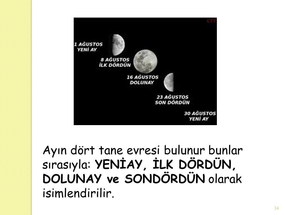 34 Ayın dört tane evresi bulunur bunlar sırasıyla: YENİAY, İLK DÖRDÜN, DOLUNAY ve SONDÖRDÜN olarak isimlendirilir.