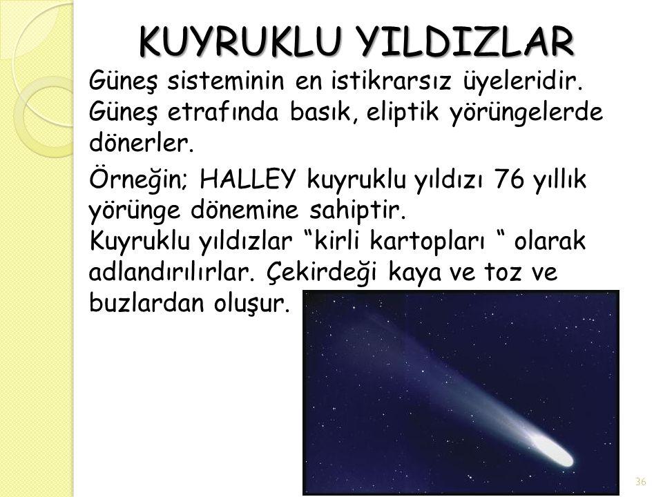 KUYRUKLU YILDIZLAR KUYRUKLU YILDIZLAR Güneş sisteminin en istikrarsız üyeleridir. Güneş etrafında basık, eliptik yörüngelerde dönerler. Örneğin; HALLE
