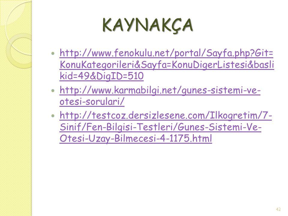 KAYNAKÇA http://www.fenokulu.net/portal/Sayfa.php?Git= KonuKategorileri&Sayfa=KonuDigerListesi&basli kid=49&DigID=510 http://www.fenokulu.net/portal/S