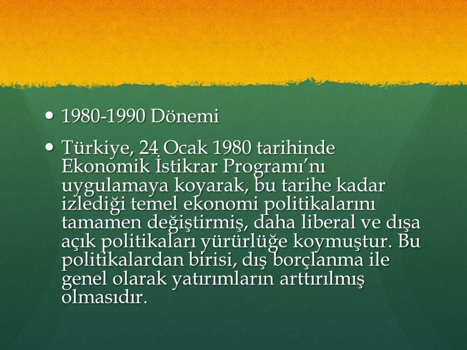 1980-1990 Dönemi 1980-1990 Dönemi Türkiye, 24 Ocak 1980 tarihinde Ekonomik İstikrar Programı'nı uygulamaya koyarak, bu tarihe kadar izlediği temel ekonomi politikalarını tamamen değiştirmiş, daha liberal ve dışa açık politikaları yürürlüğe koymuştur.