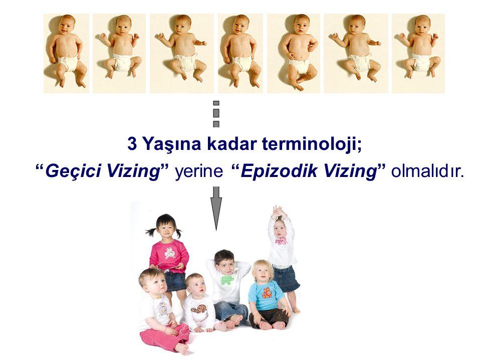 """3 Yaşına kadar terminoloji; """"Geçici Vizing"""" yerine """"Epizodik Vizing"""" olmalıdır."""