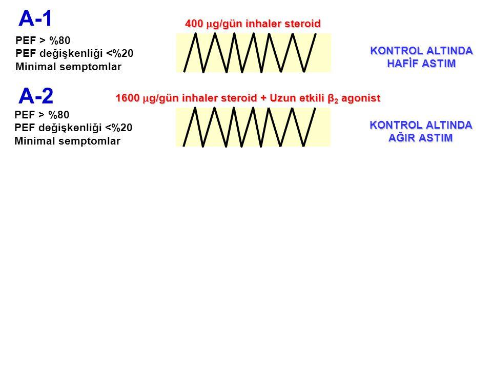 A-2 PEF > %80 PEF değişkenliği <%20 Minimal semptomlar A-1 PEF > %80 PEF değişkenliği <%20 Minimal semptomlar 1600  g/gün inhaler steroid + Uzun etki