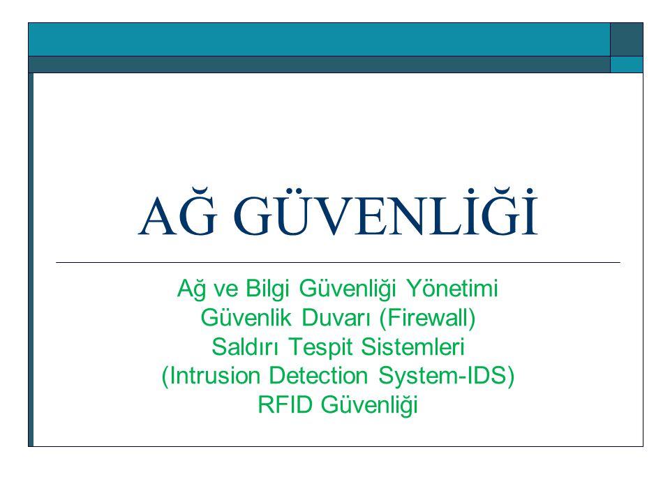 AĞ GÜVENLİĞİ Ağ ve Bilgi Güvenliği Yönetimi Güvenlik Duvarı (Firewall) Saldırı Tespit Sistemleri (Intrusion Detection System-IDS) RFID Güvenliği