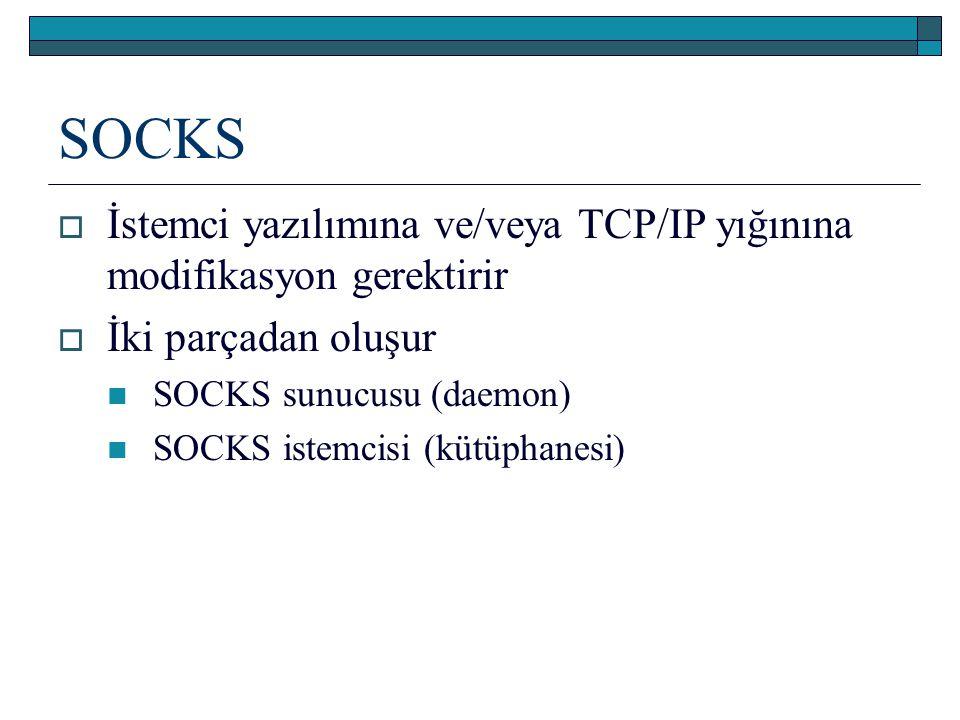 SOCKS  İstemci yazılımına ve/veya TCP/IP yığınına modifikasyon gerektirir  İki parçadan oluşur SOCKS sunucusu (daemon) SOCKS istemcisi (kütüphanesi)