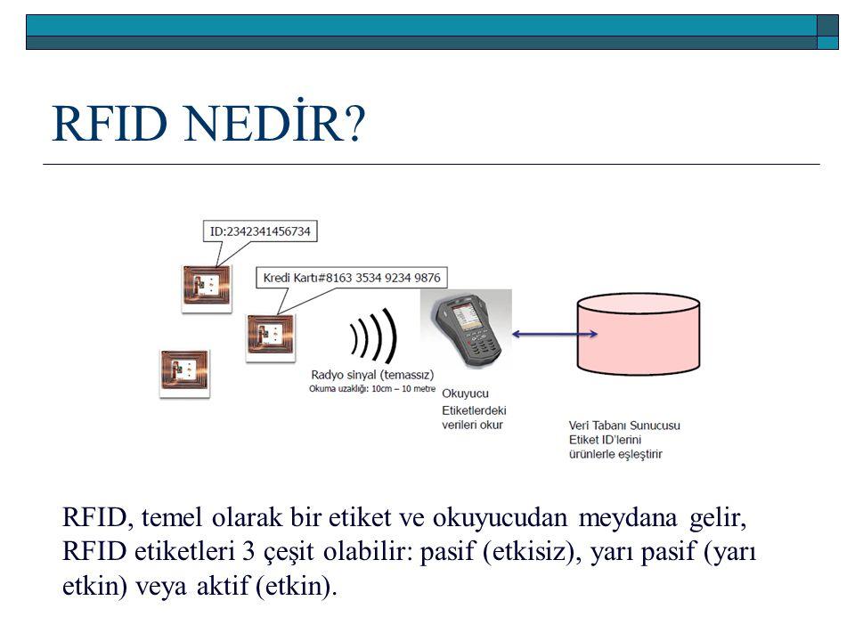 RFID NEDİR? RFID, temel olarak bir etiket ve okuyucudan meydana gelir, RFID etiketleri 3 çeşit olabilir: pasif (etkisiz), yarı pasif (yarı etkin) veya