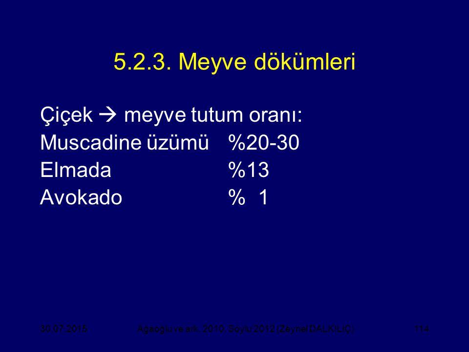 114 5.2.3. Meyve dökümleri Çiçek  meyve tutum oranı: Muscadine üzümü%20-30 Elmada%13 Avokado% 1 Ağaoğlu ve ark. 2010, Soylu 2012 (Zeynel DALKILIÇ)30.
