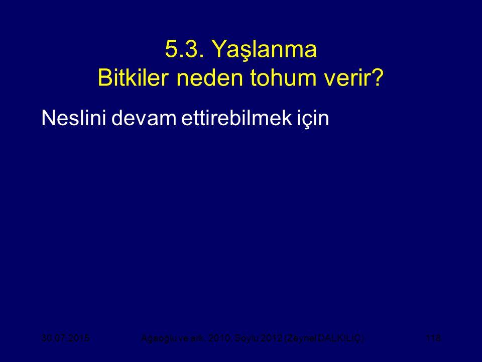 118 5.3. Yaşlanma Bitkiler neden tohum verir? Neslini devam ettirebilmek için Ağaoğlu ve ark. 2010, Soylu 2012 (Zeynel DALKILIÇ)30.07.2015