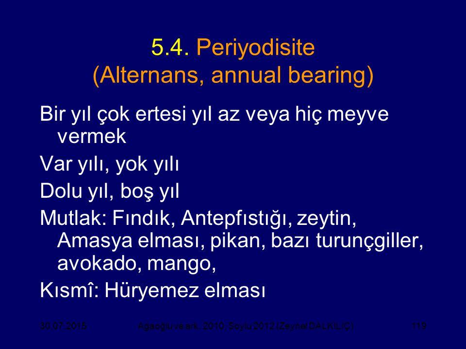 119 5.4. Periyodisite (Alternans, annual bearing) Bir yıl çok ertesi yıl az veya hiç meyve vermek Var yılı, yok yılı Dolu yıl, boş yıl Mutlak: Fındık,