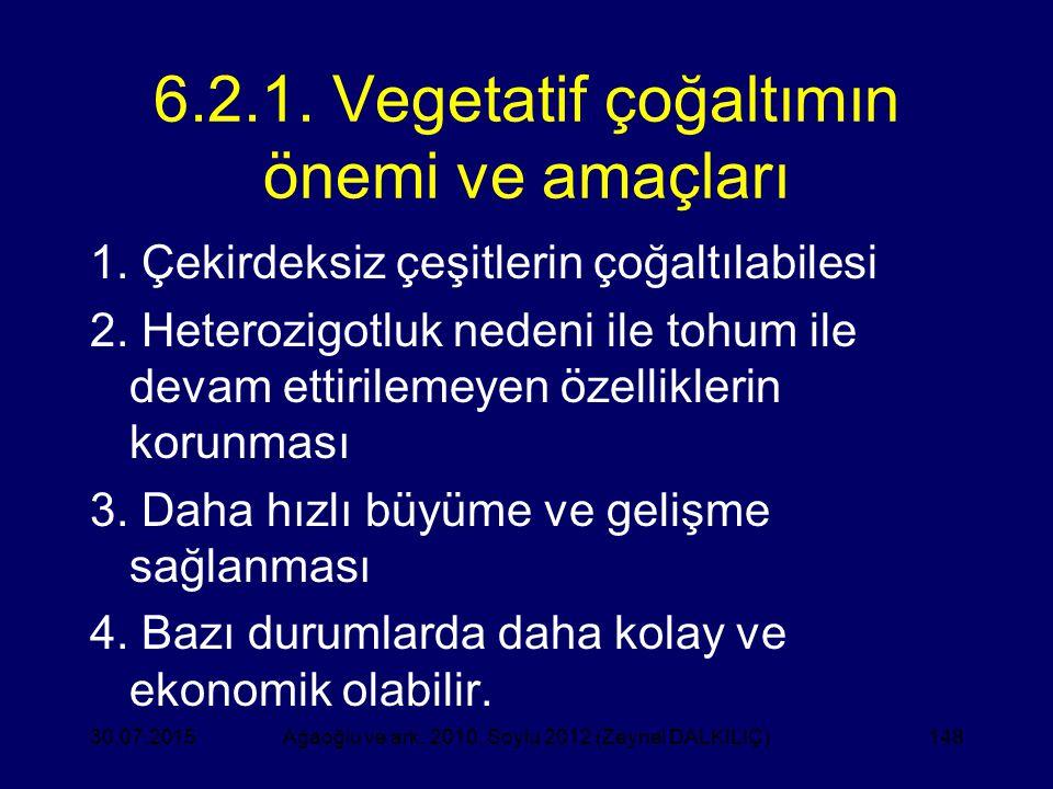 6.2.1. Vegetatif çoğaltımın önemi ve amaçları 1. Çekirdeksiz çeşitlerin çoğaltılabilesi 2. Heterozigotluk nedeni ile tohum ile devam ettirilemeyen öze