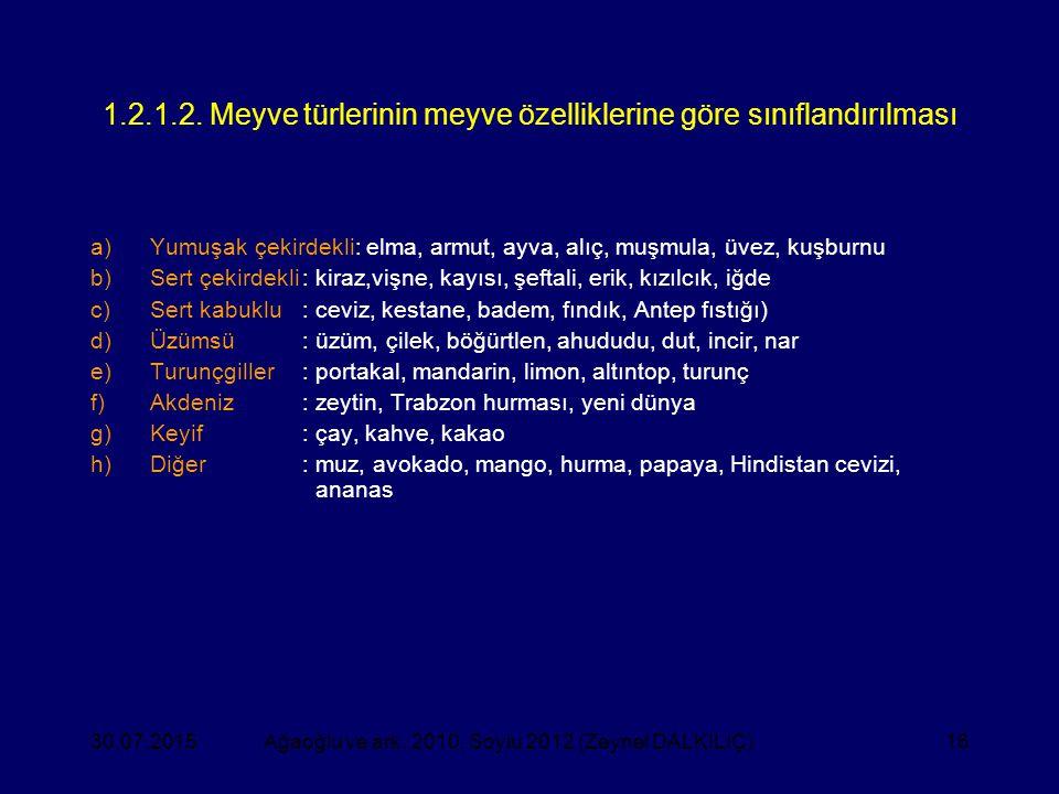 16 1.2.1.2. Meyve türlerinin meyve özelliklerine göre sınıflandırılması a)Yumuşak çekirdekli: elma, armut, ayva, alıç, muşmula, üvez, kuşburnu b)Sert