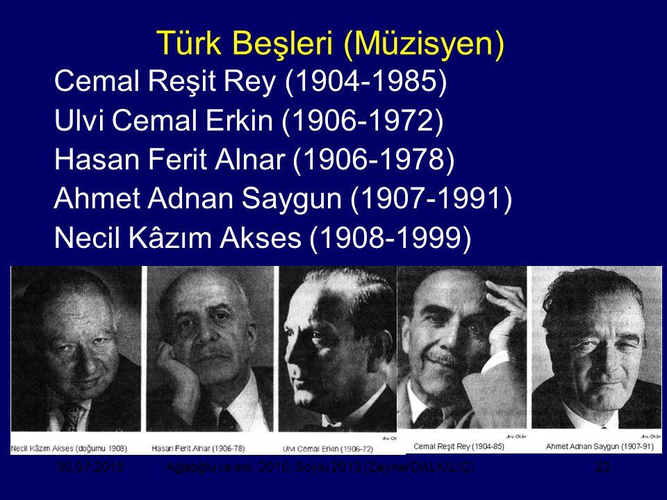 22 Türk Beşleri (Müzisyen) Cemal Reşit Rey (1904-1985) Ulvi Cemal Erkin (1906-1972) Hasan Ferit Alnar (1906-1978) Ahmet Adnan Saygun (1907-1991) Necil