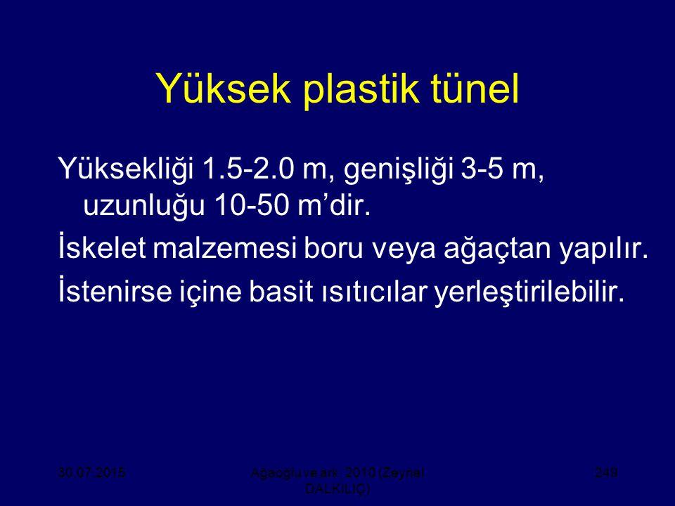 Yüksek plastik tünel Yüksekliği 1.5-2.0 m, genişliği 3-5 m, uzunluğu 10-50 m'dir. İskelet malzemesi boru veya ağaçtan yapılır. İstenirse içine basit ı