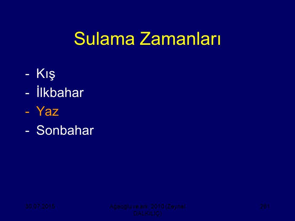 Sulama Zamanları -Kış -İlkbahar -Yaz -Sonbahar 30.07.2015Ağaoğlu ve ark. 2010 (Zeynel DALKILIÇ) 261