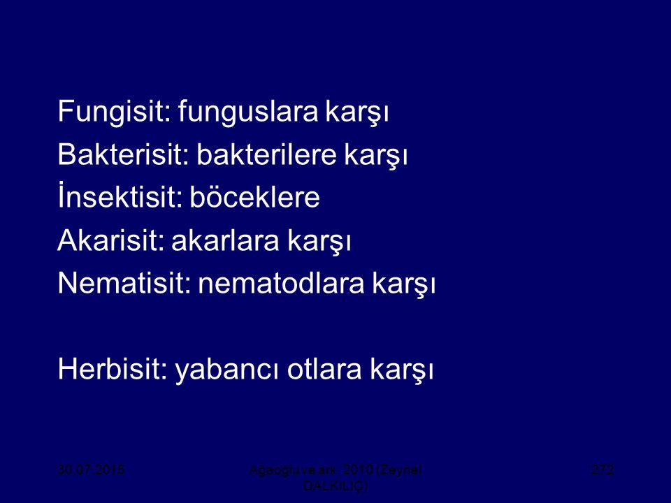 Fungisit: funguslara karşı Bakterisit: bakterilere karşı İnsektisit: böceklere Akarisit: akarlara karşı Nematisit: nematodlara karşı Herbisit: yabancı