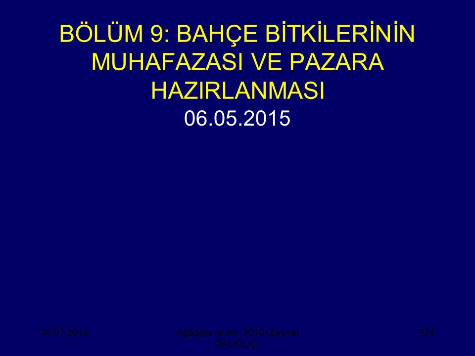 BÖLÜM 9: BAHÇE BİTKİLERİNİN MUHAFAZASI VE PAZARA HAZIRLANMASI 06.05.2015 30.07.2015Ağaoğlu ve ark. 2010 (Zeynel DALKILIÇ) 274