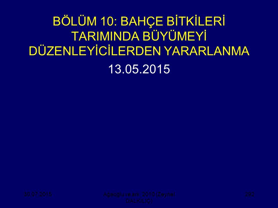 BÖLÜM 10: BAHÇE BİTKİLERİ TARIMINDA BÜYÜMEYİ DÜZENLEYİCİLERDEN YARARLANMA 13.05.2015 30.07.2015Ağaoğlu ve ark. 2010 (Zeynel DALKILIÇ) 292