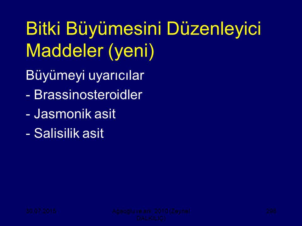 Bitki Büyümesini Düzenleyici Maddeler (yeni) Büyümeyi uyarıcılar - Brassinosteroidler - Jasmonik asit - Salisilik asit 30.07.2015Ağaoğlu ve ark. 2010
