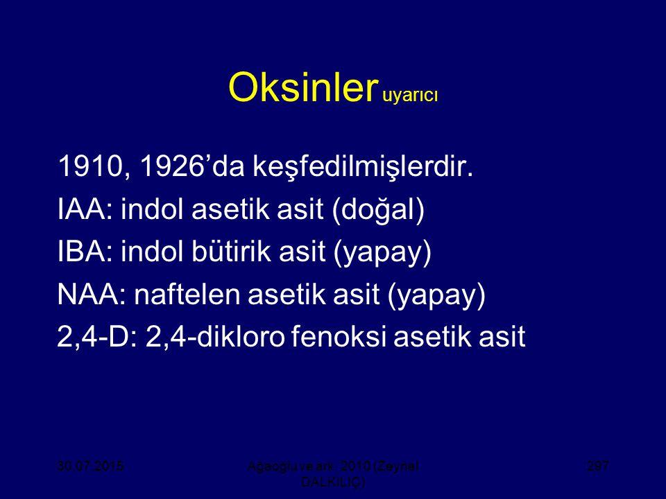 Oksinler uyarıcı 1910, 1926'da keşfedilmişlerdir. IAA: indol asetik asit (doğal) IBA: indol bütirik asit (yapay) NAA: naftelen asetik asit (yapay) 2,4