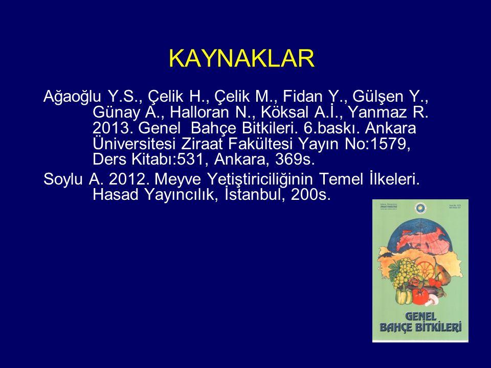 KAYNAKLAR Ağaoğlu Y.S., Çelik H., Çelik M., Fidan Y., Gülşen Y., Günay A., Halloran N., Köksal A.İ., Yanmaz R. 2013. Genel Bahçe Bitkileri. 6.baskı. A
